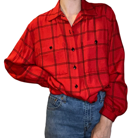 Vintage Lucca Red Button Down Shirt